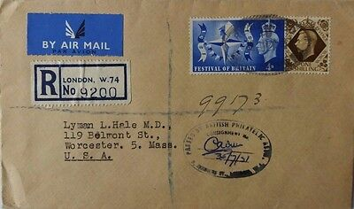 Great Britain 1951 Registered Airmail Cover With Philatelic Inspection Cachet