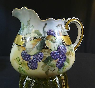Limoges Pitcher---Berries--Lovely Detail And Condition---Signed ???--Buy It Now!