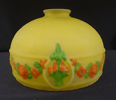 """Shade--1920's--Reverse Painted--Floral--Yellow &--Nice--7.5"""" X 5.25"""" X 2.25"""" Top"""
