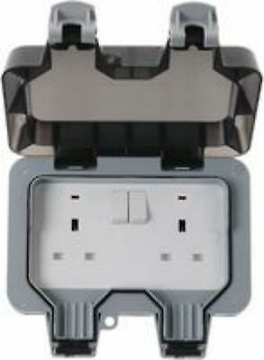EXTERNAL OUTDOOR MAINS POWER TWIN SOCKET 13A 230V IP66 weatherproof patio shed