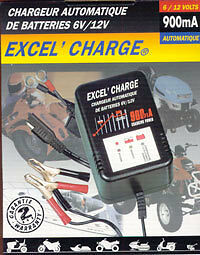 Chargeur EXCEL CHARGE 6V/12V automatique 900mA