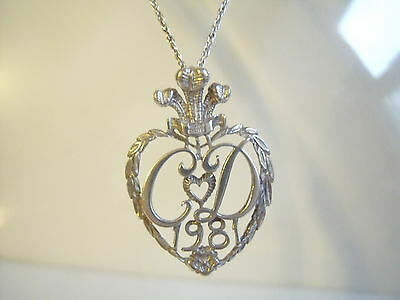 Silver 1981 Prince Charles & Lady Diana British Hallmarked Pendant with Chain