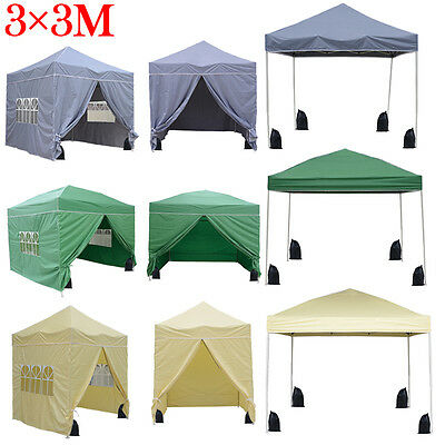 Waterproof 3x3m Pop Up Gazebo Marquee Garden Awning Party Tent Canopy