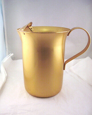 Aluminum Gold Colored Pitcher W/ Ice Lip Ice Tea Container