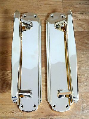 "2nd PAIR LARGE 12"" BRASS ART DECO DOOR PULL HANDLES KNOBS PLATES FINGER PUSH"