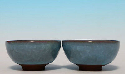 Exquisite Pair of Chinese Blue Glaze Porcelain Tea Cups Collections WJ717