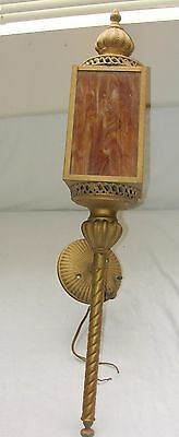 Vtg Mid Century Carriage Bungalow Tudor Slag Glass Porch Light Sconce Electric