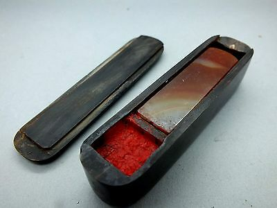 Late 19th C  Chinese Cornelian Agate Seal and Pad in Lidded Jet Case c1870
