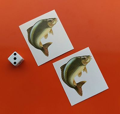 Pair of Superb Quality small Carp Stickers 50mm fishing tackle boxes/cars/vans