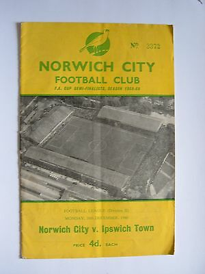 Norwich City v Ipswich Town 1960/1961 - Football Programme
