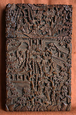 Antique Chinese Card Case Cantonese Deeply Carved 19Th C Gift