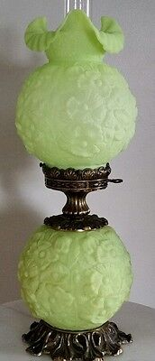 Gorgeous Vintage FENTON Lime Green Poppy Gone with the Wind Parlor Lamp