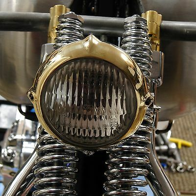 "Low Vintage Eared Anodized Brass 4"" Headlight Harley Xs650 Bobber Chopper"