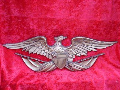 "Vintage Sexton Cast Metal Wall Plaque ~ American Bald Eagle w/ Shield 27"" x 9"""