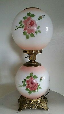 Vintage  Banquet Gwtw Lamp Hand Painted Roses Milk  Glass Lamp Beautiful