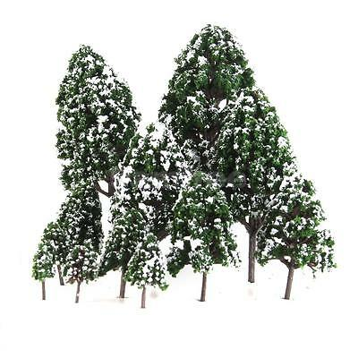 12PCS Mixed Model Tree Train Architecture Forest Winter Scenery Layout 3-16cm