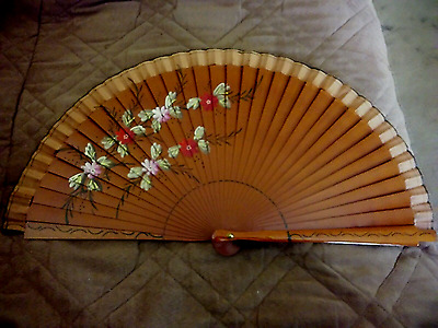 Beautiful Hand Painted Hand Held Wooden FAN with Red & Pink Floral design