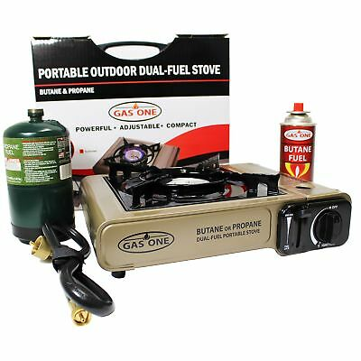 GAS ONE NEW GS-3400P Dual Fuel Portable Propane & Butane Camping and Backpack...