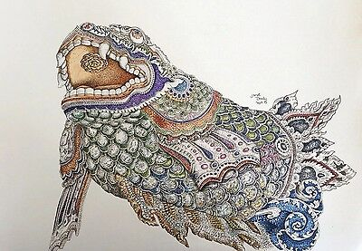 MADE ENTIRELY OF DOTS! Erawan Dragon A3 Pen & ink Signed Original Drawing