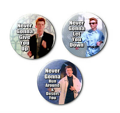 Lot of 3 - RickRoll, Rick Astley - 1.25in Pins Buttons Badges