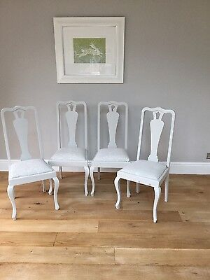 vintage. , painted, upholstered dining chairs