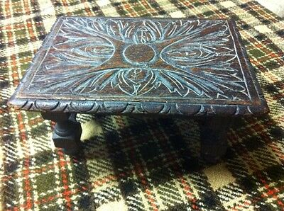Milking Stool Foot Stool Carved Oak 19th Century Georgian Victorian Green Man?