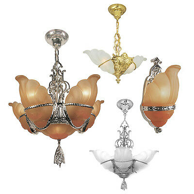 Art Deco Slip Shade Wall Sconce or Ceiling Pendant or Chandelier - Devon Series