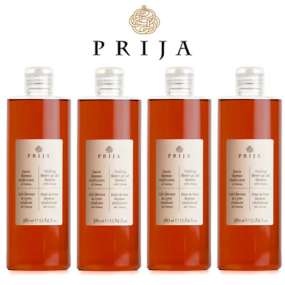 Prija Hair & Body mit Ginseng Haarshampoo Duschgel Wellness 4x 380 ml Flakon Spa