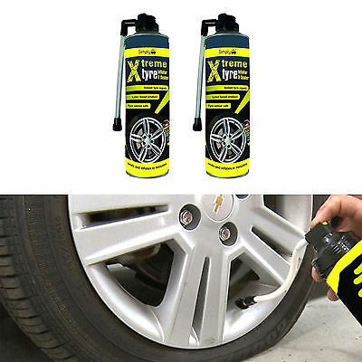 2 x Tyre Weld Tire Seal 500ml Emergency Repair For Ssangyong Musso Sports