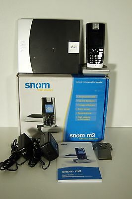 SNOM M3 Expandable Wireless VoIP DECT Cordless Phone Handset and Base