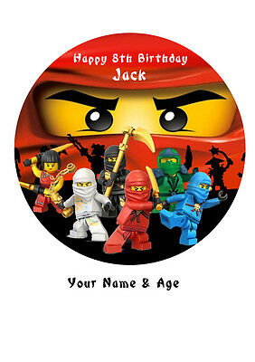 "Ninjago Personalized Birthday Cake Topper Edible Wafer Paper 7.5"" ninja Kai img4"