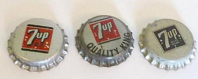 3 Vintage 7 Up Cork Crowns, All Different, 7 Up, Quality King, & Older Grey. New