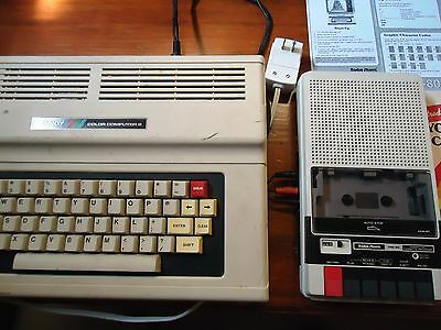 TRS80 CoCo 64K Ext. BASIC system ready to go, CCR81 tape, and much more