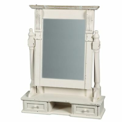 G1147: Gründerzeit Make-Up Mirror in Country House Style, Shabby White
