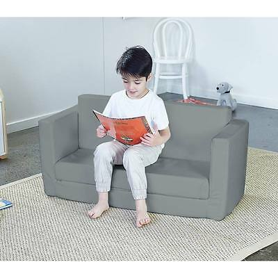 Hip Kids Flip Out Sofa Couch Lounge Chair Grey PU Upholstered Children Toddler
