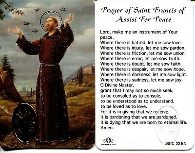 St. Francis of Assisi For Peace Wallet Prayer Card Laminated Holy Cards RCC22EN