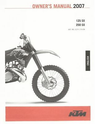KTM owners service manual 2007 125 SX 250 SX