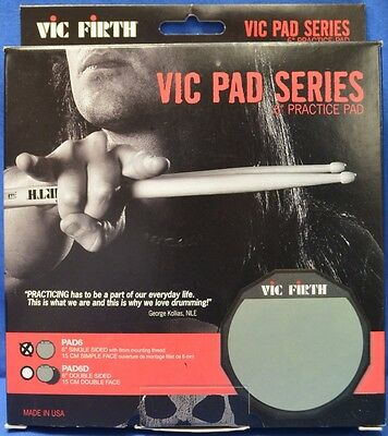 """NEW Vic Firth PAD6 6"""" Single Sided Soft Surface Practice Drum Pad"""