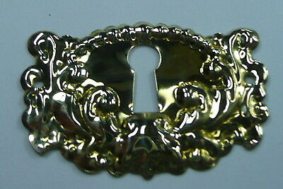 Polished Stamped Brass Keyhole Escutcheon Embossed Horizontal Design  NOS