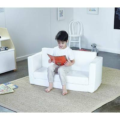 Hip Kids Flip Out Sofa Couch Lounge Chair White PU Upholstered Children Toddler