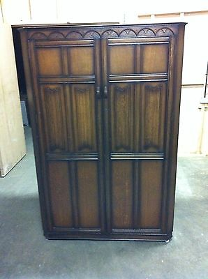 Large Old charm Jaycee priory style wardrobe antique Jacobean arts & crafts Oak