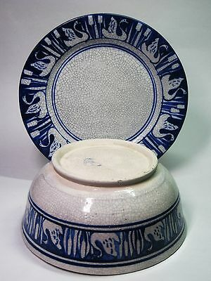 Dedham Pottery Early Stamp White Cobalt Blue Crackle Swan Cat Tail Bowl & Plate