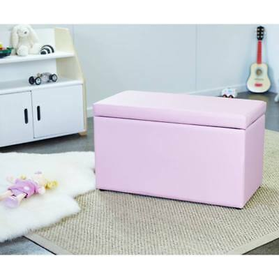 Hip Kids Maddison Toy Storage Box Blanket Chest Pink Upholstered Toddler