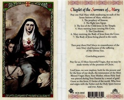 Chaplet the Sorrows of Mary Prayer Card Our Lady Catholic Laminated HC9-265E