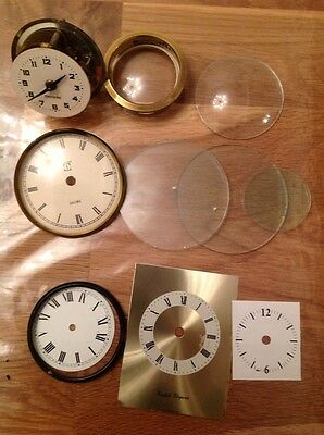 Antique Vintage Clock Glass Three Flat 2x84mm 1x49mm Convex 67mm And Parts