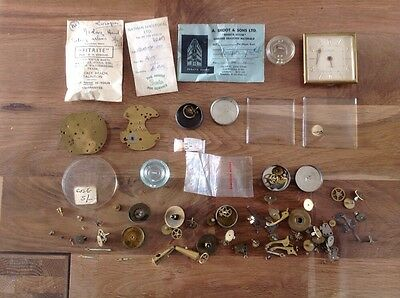 Antique Vintage Clock Parts Spares Hands Glass Palet Spring Mainly Europa