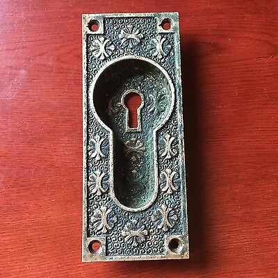 Antique Victorian Collectible Cast Brass Eastlake Pocket Door Backplate #2