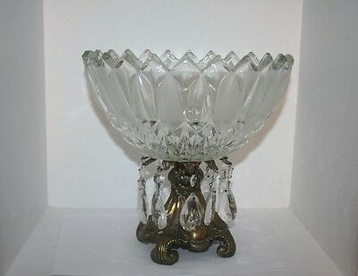 Antique Large Crystal Glass w Prisms Centerpiece Compote Bowl Ornate Brass Stand