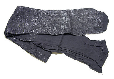 TWO PAIRS Girls Black Silver Glitter Sparkle Sparkly Party Tights age 13-14 yrs