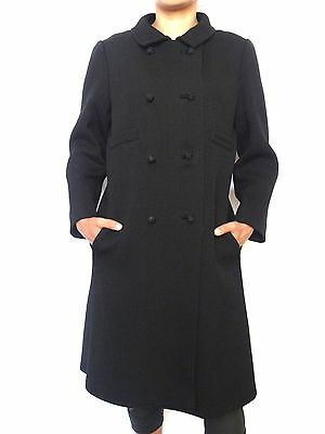 Vintage 50s Brynwood Black Textured Wool Coat Long Coat Size Small
